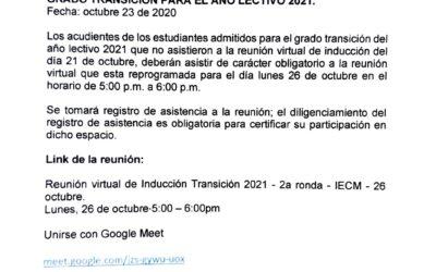 Link de inducción reunión virtual para estudiantes admitidos en grado Transición para el año lectivo 2021